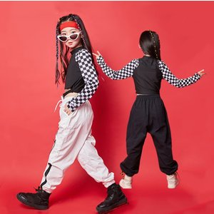 キッズ ダンス衣装 ヒップホップ HIPHOP チェック柄 ダンストップス 黒カーゴパンツ 白パンツ...