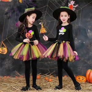 ハロウィン 女の子 衣装 魔女 子供 コスプレ 仮装 キッズドレス 子供 コスチューム キッズ 子どもドレス 長袖 ハロウィン コスプレ 子供 カボチャ&髑髏