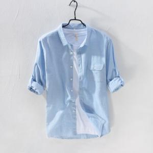 リネンシャツ メンズ 長袖 ポケット付き 無地 綿麻シャツ ...