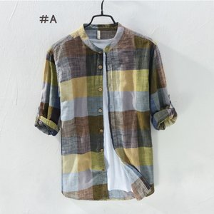 リネンシャツ メンズ 長袖 チェック柄 綿麻シャツ カジュア...