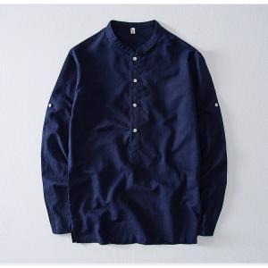 カジュアルシャツ メンズ 長袖 バンドカラー ヘンリーネック 大きいサイズ 白シャツ リネン コット...
