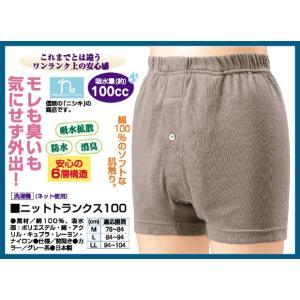 ニットトランクス100  失禁パンツ 綿100% 日本製 男性用 吸水量約100cc 消臭 6層構造 防水 吸水 抗菌 トランクス 介護 ち...|justpartner
