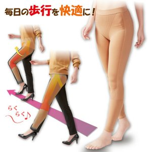 レディース 歩行 筋肉 太もも 膝 ひざ サポート 伸縮性 テーピング編み ギャザー いきいき軽やか歩行スパッツ スパッツ|justpartner