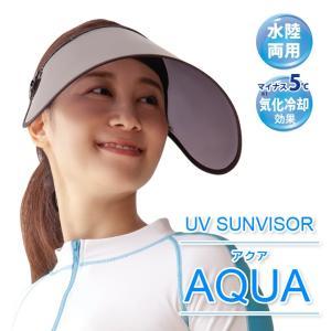 サンバイザー 可動式 前つばロング レディース 海 プール UVカット ひんやり 日焼け対策 紫外線対策 UV対策 顔 ブラック 黒 アウトドア UVサンバイザー アクア|justpartner