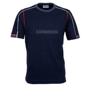 LIEBHERR リープヘル 重機 Tシャツ ダークブルー ラウンドネック T-shirt|juuki