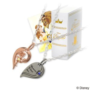 Disney シルバー ペアネックレス ハート ペア 誕生日プレゼント 記念日 ザキッス ザキス ザ・キッス ディズニー disney_y 美女と野獣 ベル プリンセス 送料無料|jwell