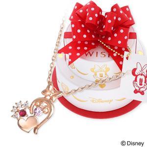 Disney シルバー ネックレス 誕生石 ハート 名入れ 刻印 当店オリジナル 彼女 あすつく ウィスプ ディズニー ミニーマウス|jwell