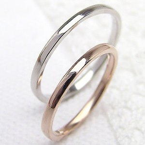 結婚指輪 ペアリング シンプル K10PG K10WG マリ...