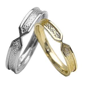 マリッジリング 結婚指輪 粗しデザイン イエローゴールドK1...