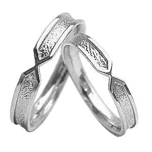 マリッジリング 結婚指輪 粗しデザイン ホワイトゴールドK1...