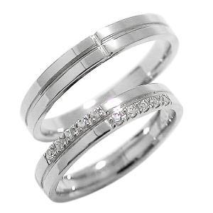 結婚指輪 プラチナ ペア クロス ダイヤモンド マリッジリング ペアリング Pt900...