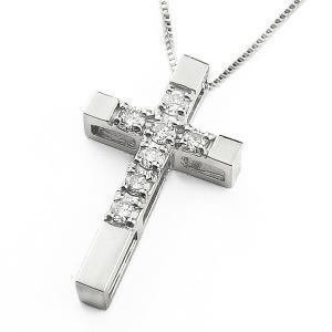 ネックレス クロスダイヤモンド ネックレス ホワイトゴールドK18 十字架ペンダント 7ストーン 18金|jwl-i
