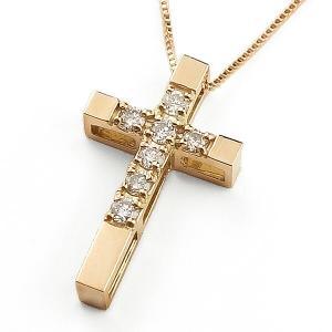 ネックレス クロスネックレス セブンストーン ダイヤモンド ピンクゴールドK10 十字架|jwl-i