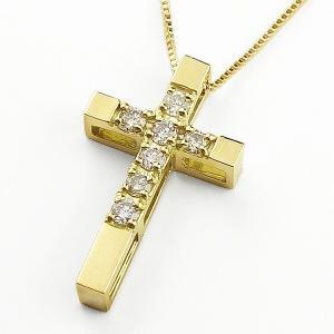 ネックレス クロスネックレス セブンストーン ダイヤモンド  イエローゴールドK10 十字架|jwl-i