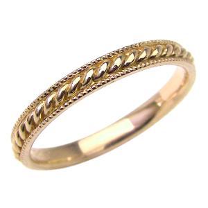 ツイストメンズリング イエローゴールドK18 18金 指輪 Men's アンティーク jwl-i