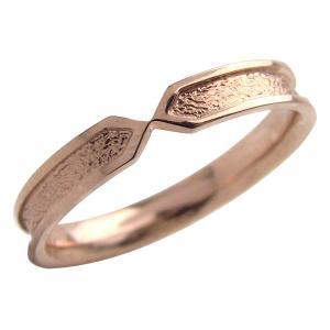シンプルメンズリング ピンクゴールドK18 K18PG 粗しデザイン 指輪 Men's jwl-i