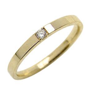 シンプル ダイヤモンドリング 一石 イエローゴールドK18 K18YG jwl-i
