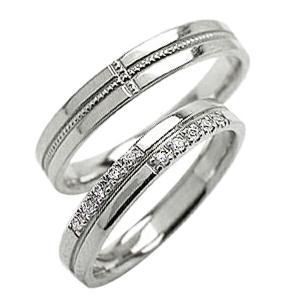 結婚指輪 ペアリング クロス ダイヤモンドリング ホワイトゴールドK10 ミル打ち マリッジリング ...