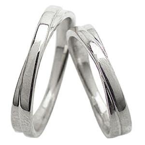 結婚指輪 ペアリング 交差 クロス デザイン マリッジリング ホワイトゴールドK10 ホワイトデー ...
