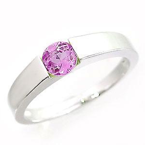 ピンクトルマリンリング ホワイトゴールドK18 K18WG 10月誕生石 ピンキーリング|jwl-i