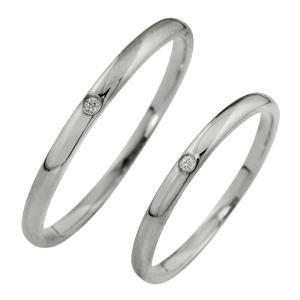 結婚指輪 一粒ダイヤモンド ペアリング シンプル ホワイトゴ...