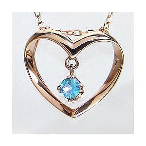 ハート ネックレス ブルートパーズ 11月 誕生石 ピンクゴールドK18 Heart ペンダント 誕生日 記念日 BlueTopaz|jwl-i
