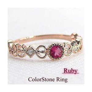 ルビーリング 7月誕生石 リング 指輪 ダイヤモンド ピンクゴールドK18|jwl-i