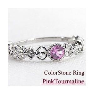 ピンクトルマリンリング K10WG 10月誕生石 天然ダイヤモンド カラーストーン bs10|jwl-i