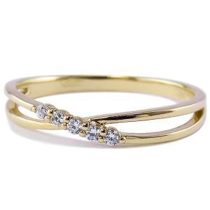 指輪 レディース ピンキーリング ダイヤモンドリング ファイブストーン 指輪 ピンキーリング 10金...