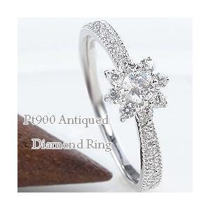 プラチナ ダイヤモンド リング アンティーク 取巻き ミル打ち 指輪 Pt900 太陽|jwl-i