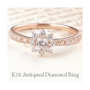 ダイヤモンドリング アンティーク 取巻き ミル打ち 指輪 18金 K18 太陽|jwl-i