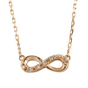 ネックレス レディース インフィニティネックレス 18金 無限 ∞ ダイヤモンド 7ストーン ペンダント 3色から選べる素材 ホワイトデー プレゼント|jwl-i