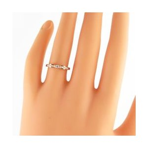 リボンリング 10金 指輪  天然 ダイヤモンド ピンキーリング 3号〜 ホワイト ピンク イエロー ゴールド モチーフ|jwl-i|02