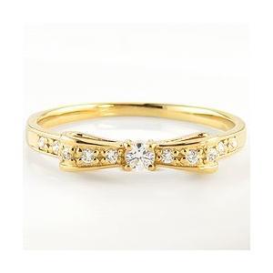 リボンリング 10金 指輪  天然 ダイヤモンド ピンキーリング 3号〜 ホワイト ピンク イエロー ゴールド モチーフ|jwl-i|04