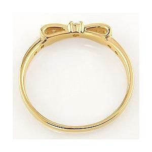 リボンリング 10金 指輪  天然 ダイヤモンド ピンキーリング 3号〜 ホワイト ピンク イエロー ゴールド モチーフ|jwl-i|05