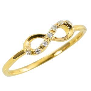 インフィニティ リング 天然 ダイヤモンド 7石 指輪 セブンストーン 18金 ゴールドモチーフ ∞ ピンキーリング 1号〜 ホワイトデー プレゼント|jwl-i
