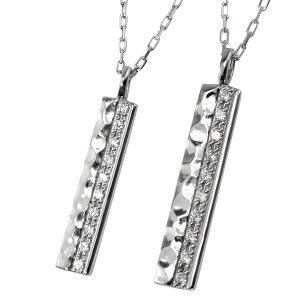 ペアネックレス プラチナ 2個セット ダイヤモンド Pt900 Pt850 ペンダント 刻印 文字入れ 可能 送料無料
