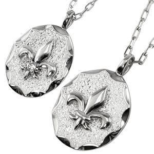 ペアネックレス プラチナ ユリの紋章 フルールドリス 2個セット ダイヤモンド Pt900 Pt850 ペンダント 刻印 文字入れ 可能 送料無料