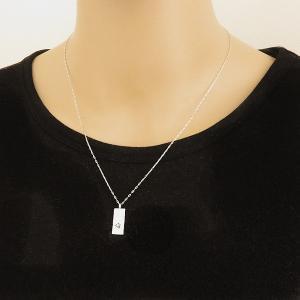 メンズネックレス プラチナ 長方形 モチーフ Pt900 Pt850 一粒 ダイヤモンド ペンダント アズキチェーン 50cm|jwl-i|02