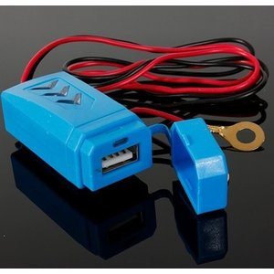 LED搭載蓋つき防水バイク汎用12V充電器ハンドル取り付け 5V1A ブルー|jxshoppu