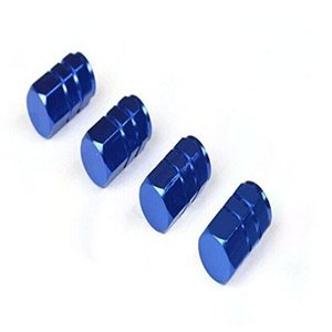 タイヤ エア バルブ キャップ 4個セット ブルー 青 アルミ エアーバルブキャップ 車 カー用品|jxshoppu