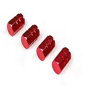 タイヤ エア バルブ キャップ 4個セット レッド 赤 アルミ エアーバルブキャップ 車 カー用品|jxshoppu