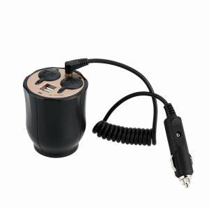ドリンクホルダー シガーソケット 車載電源充電器 USBポート 2連増設ソケット分配 カーチャージャー 同時に2つの機器に充電可能  5V2.1A|jxshoppu