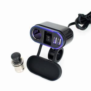 ブルーLED付き 12/24V バイク用 シガーソケット+2ポートUSB 電源スイッチ内蔵タイプ (汎用シガープラグ、配線部材)防水防塵カバー付き|jxshoppu