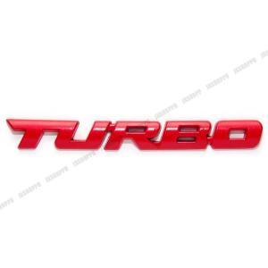 TURBO エンブレム ステッカー ロゴ レッド 赤 メタル 立体 ターボ カスタム パーツ ドレスアップ|jxshoppu