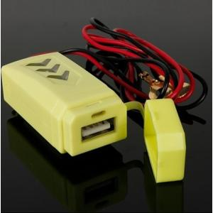 LED搭載蓋つき防水バイク汎用12V充電器ハンドル取り付け5V1Aイエロー|jxshoppu