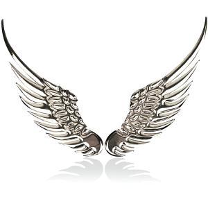 ウイング エンブレム ステッカー シルバー 銀 カスタム パーツ 立体 3D ウィング 天使の羽根 翼 エンジェル|jxshoppu