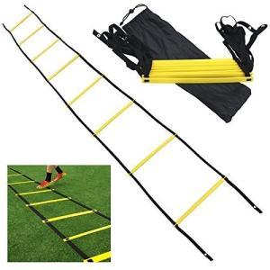 トレーニングラダー5mプレート9枚敏捷性アップサッカーフットサルイエロー(5m 9枚)|jxshoppu