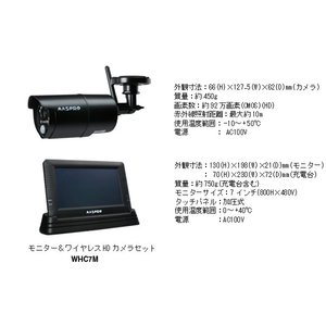 【MASPRO マスプロ電工】モニター&ワイヤレスHDカメラセット[WHC7M] jyakudenkan