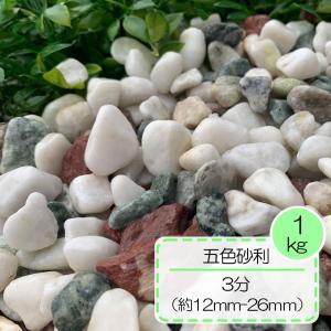 砂利 白 赤 緑 庭 玄関周り アプローチ  五色砂利 3分(12〜26mm)30kg入り